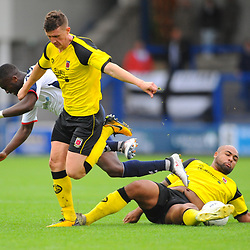 TELFORD COPYRIGHT MIKE SHERIDAN 13/10/2018 - Daniel Udoh of AFC Telford is tackled by Courtney Meppen-Walters of Chorley during the Vanarama National League North fixture between AFC Telford United and Chorley
