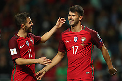 August 31, 2017 - Porto, Porto, Portugal - Portugal's forward Nelson Oliveira (R) celebrates after scoring a goal with Portugal's midfielder Bernardo Silva (L) during the FIFA World Cup Russia 2018 qualifier match between Portugal and Faroe Islands at Bessa Sec XXI Stadium on August 31, 2017 in Porto, Portugal. (Credit Image: © Dpi/NurPhoto via ZUMA Press)