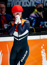 Suzanne Schulting of Netherlands celebrate the gold medal on 500 meter during ISU World Short Track speed skating Championships on March 06, 2021 in Dordrecht