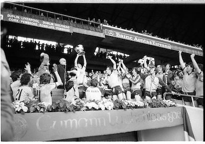 """All Ireland Minor Final..1982.19.09.1982.09.19.1982.19th September 1982..The Dublin Minor Team celebrate the winning of the """"Tom Markham Cup"""" in Croke Park..They overcame Kerry 1.11 to 1.05 to win the championship."""