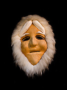 Anaktuvuk Pass, Alaska, Nunamiut mask made of caribou hide stretched over a wooden mold and accented with fur, collection of Ellen Lehman and Charlie Kennel.
