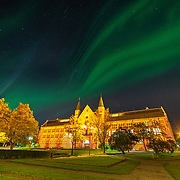 NTNU University Main Building. The Green lights over the building comes from the northern lights.