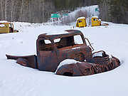 Antique trucks abandoned at the start of the South Canol Road, Yukon Territory, Canada
