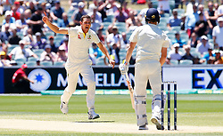 Australia's Josh Hazelwood celebrates the wicket of Chris Woakes during day five of the Ashes Test match at the Adelaide Oval, Adelaide.