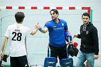 UTRECHT-Zaalhockey hoofdklasse.  Cartouche keeper Laurens Goedegebuure met rechts Joost Bitterling (A'dam)  COPYRIGHT KOEN SUYK