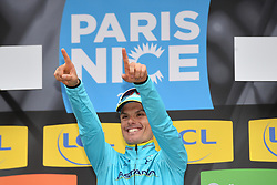 March 9, 2018 - Sisteron, FRANCE - Spanish Luis Leon Sanchez of Astana Pro Team celebrates on the podium in the yellow jersey of leader in the overall ranking after the sixth stage of the 76th edition of Paris-Nice cycling race, 188km from Sisteron to Vence, France, Friday 09 March 2018. The race starts on the 4th and ends on the 11th of March...BELGA PHOTO DAVID STOCKMAN (Credit Image: © David Stockman/Belga via ZUMA Press)