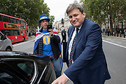 Anti Brexit protester and campaigner Steve Bray confronts Kit Malthouse MP outside the Cabinet Office in Westminster as inside the Tory Cabinet meets to discuss Brexit on 16th August 2019 in London, England, United Kingdom. Christopher Laurie Malthouse is a British politician, businessman and occasional writer serving as Minister of State for Policing and Crime since 2019.