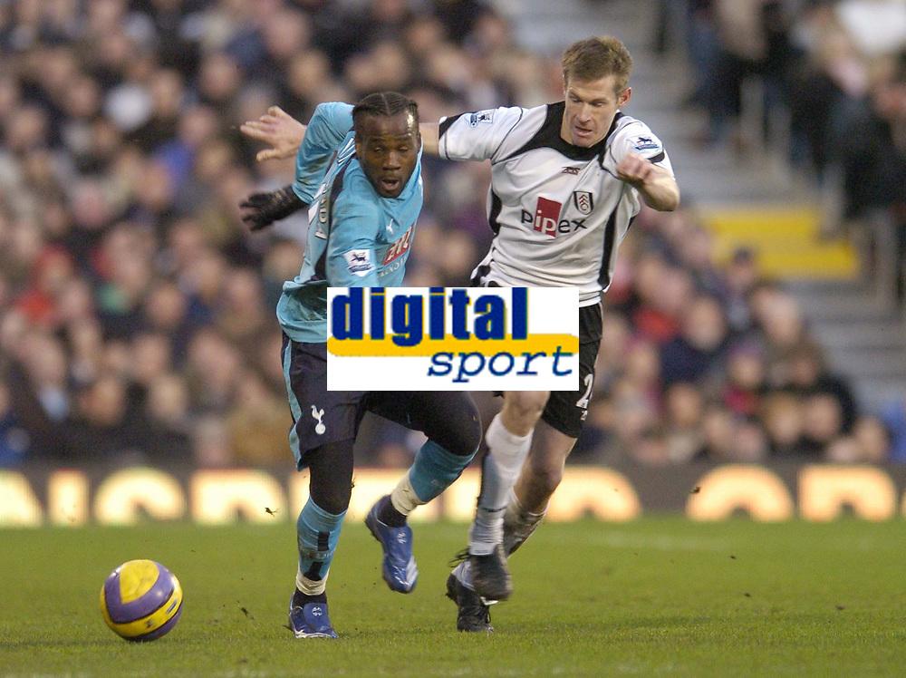 Photo: Olly Greenwood.<br />Fulham v Tottenham Hotspur. The Barclays Premiership. 20/01/2007. Tottenham's Pascal Chimbonda and Fulham's Brian McBride