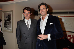 Left to right, VISCOUNT ERLEIGH and RUPERT FINCH at a party hosted by Lady Kinvara Balfour, Lavinia Brennan and Lady Natasha Rufus Isaacs to celebrate the Beulah French Sole Collaboration in aid of the UN Blue Heart Campaign, held at George, 87-88 Mount Street, London on 10th December 2013.
