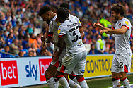 CELE Bournemouth midfielder Philip Billing  (29) celebrates scoring the opening goal with team-mate Jordan Zemura  (33)  during the EFL Sky Bet Championship match between Cardiff City and Bournemouth at the Cardiff City Stadium, Cardiff, Wales on 18 September 2021.