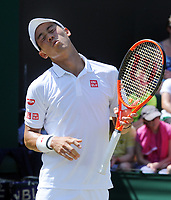 Tennis - 2017 Wimbledon Championships - Week One, Friday [Day Five]<br /> <br /> Mens Singles Third Round match<br /> Kei Nishikori (JAP) v Roberto Bautista Agut (ESP) <br /> <br /> Kei Nishikori after his shot went wide on Court 3<br /> <br /> COLORSPORT/ANDREW COWIE