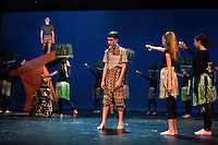 """The vision of Mufasa (Josh Testa) comes to Simba (Tyler Browne) to convince him to return to Pride Rock during dress rehearsal for the Gilford Middle School production of """"The Lion King"""" on Monday afternoon.  (Karen Bobotas/for the Laconia Daily Sun)"""