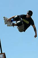 """Jul 01, 2003; Anaheim, California, USA; InLine skater MATT LINDENMUTH on the vert ramp at Disney's California Adventure """"X Games Experience"""".  <br />Mandatory Credit: Photo by Shelly Castellano/Icon SMI<br />(©) Copyright 2003 by Shelly Castellano"""