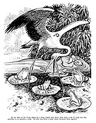 The Fable of the Frogs. [In the fable of the frogs asking for a king, Jupiter first threw them down a log of wood, but they grumbled at so spiritless a king. He then sent them a stork, which devoured them eagerly.]