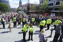 An EDL organised event to lay flowers at Sheffields War Memorial in Barkers Pool in Memory of Lee Rigby on Saturday afternoon was stopped by supporters of Sheffield Unite Against Fascism and One Sheffield Many Cultures. <br /><br />Flowers thrown by an EDL support float in one of the fountains in Barkers Pool<br /><br />1 June 2013<br />Image © Paul David Drabble<br />www.pauldaviddrabble.co.uk