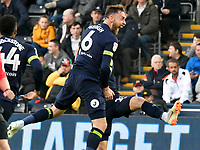 Football - 2018 / 2019 Sky Bet EFL Championship - Swansea City vs. Derby County<br /> <br /> Richard Keogh Derby County celebrates scoring his team's first goal, at The Liberty Stadium.<br /> <br /> COLORSPORT/WINSTON BYNORTH