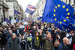 London, UK. 23rd March, 2019. A million people take part in a Put It To The People march for a People's Vote through central London before attending a rally in Parliament Square addressed by a selection of politicians and entertainers.