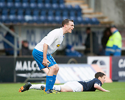Morton's David Robertson brings down Falkirk's Conor McGrandles for their first penalty.<br /> Falkirk 1 v 1 Morton, Scottish Championship game today at The Falkirk Stadium.<br /> © Michael Schofield.