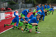 The team go through their warm up during the Pre-Season Friendly match between Worthing FC and Forest Green Rovers at Woodside Road, Worthing, Uni on 1 August 2017. Photo by Shane Healey.