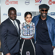London,England,UK. 6th April, 2017. Babou Ceesay,Freida Pinto and Idris Elba attends the UK premiere of Sky Original Production Guerrilla at The Curzon,Bloomsbury,London,UK. by See Li