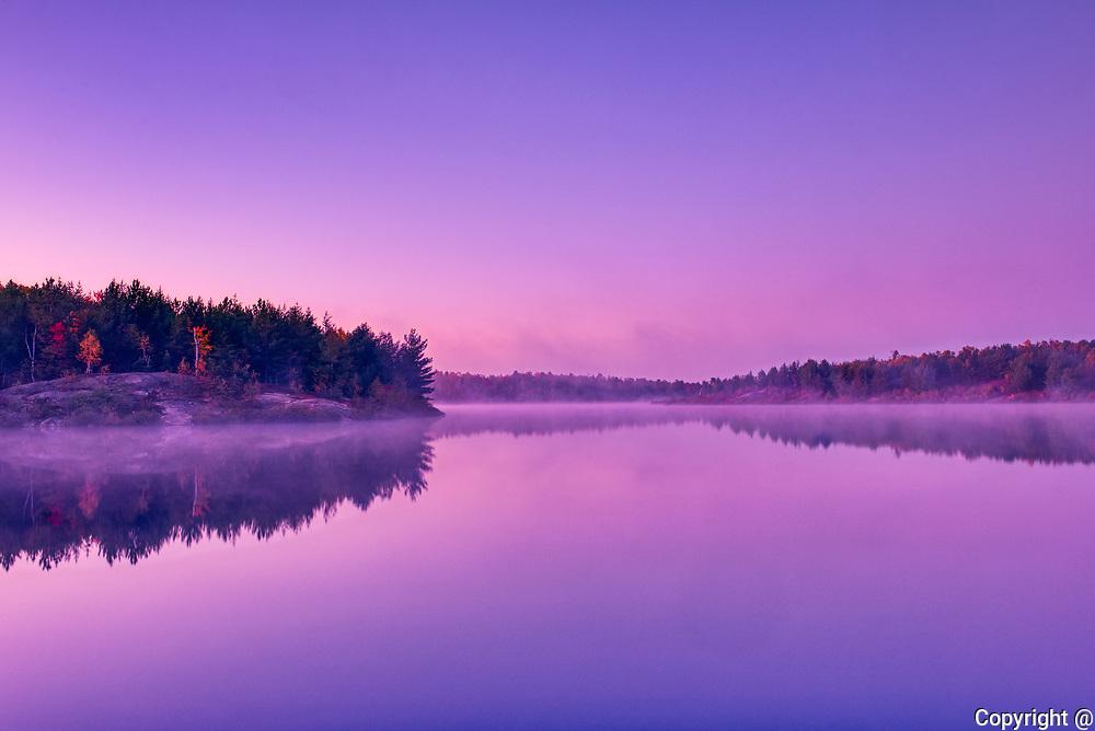 Dawn light on Lake Laurentian. Lake Laurentian Conservation Area.<br />Sudbury<br />Ontario<br />Canada