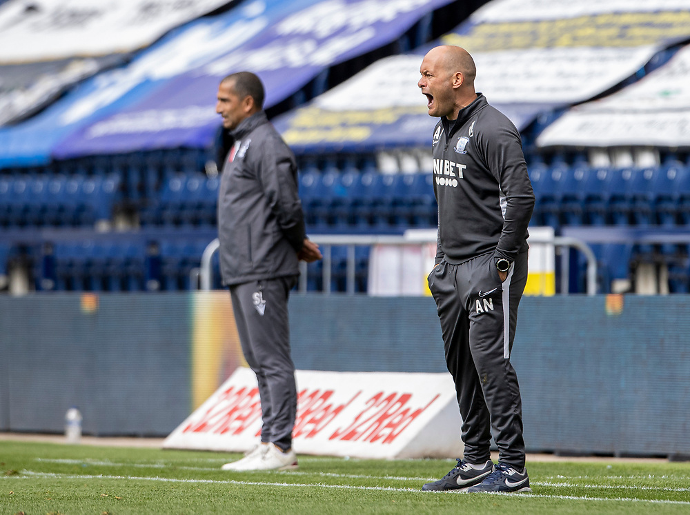 Preston North End's manager Alex Neil shouts at his players<br /> <br /> Photographer Andrew Kearns/CameraSport<br /> <br /> The EFL Sky Bet Championship - Preston North End v Nottingham Forest - Saturday 11th July 2020 - Deepdale Stadium - Preston <br /> <br /> World Copyright © 2020 CameraSport. All rights reserved. 43 Linden Ave. Countesthorpe. Leicester. England. LE8 5PG - Tel: +44 (0) 116 277 4147 - admin@camerasport.com - www.camerasport.com