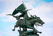 Bronze statue of Joan of Arc (Jeanne D'Arc) created  by Jules Roulleau in 1893 in Chinon, Loire Valley, France