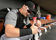 GLENDALE, ARIZONA - FEBRUARY 23:  Adam Engel #15 of the Chicago White Sox wraps his bat during the game against the Los Angeles Dodgers on February 23, 2018 at Camelback Ranch in Glendale Arizona.  (Photo by Ron Vesely)  Subject:   Adam Engel