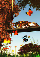 On a warm summer afternoon, a cat sits lazily on a swing. However, their eyes are bright and alert with the array of dazzling butterflies that are in front of them. The cat even looks like it might break its languid, relaxed position to chase them. This piece is deeply evocative of a lazy day in which there is very little to do. Yet the spirit is restless. Or at the very least, the spirit is deeply aware of the quiet beauty that is inherent in their surroundings. This art is available as wall art, a t-shirt, or in the form of many different interior products. .<br /> <br /> BUY THIS PRINT AT<br /> <br /> FINE ART AMERICA<br /> ENGLISH<br /> https://janke.pixels.com/featured/a-cat-looks-at-the-butterflies-jan-keteleer.html<br /> <br /> <br /> WADM / OH MY PRINTS<br /> DUTCH / FRENCH / GERMAN<br /> https://www.werkaandemuur.nl/nl/shopwerk/Katten---Een-kat-kijkt-naar-de-vlinders/436999/134