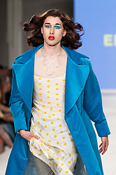 © Licensed to London News Pictures. 07/06/2016. London, UK. A model presents a look by Eden Loweth from Ravensbourne.  Graduate Fashion Week, day three, takes place at the Old Truman Brewery in East London.  The event showcases the work of over 1,000 of the very best graduates from over 40 universities around the world through 22 catwalk shows and more.  Photo credit : Stephen Chung/LNP