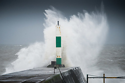 """© London News Pictures. 08/02/2014. Aberystwyth, UK. <br /> Gale force winds and big waves begin to strike the sea walls at Aberystwyth on the west wales coast.  The winds are forecast to strengthen throughout the day, gusting up to 70 or 80 mph, and with the rising tide, their impact could be potentially damaging again. An amber """"be prepared"""" warning  has been issued by the Met Office for wind,. Photo credit: Keith Morris/LNP"""