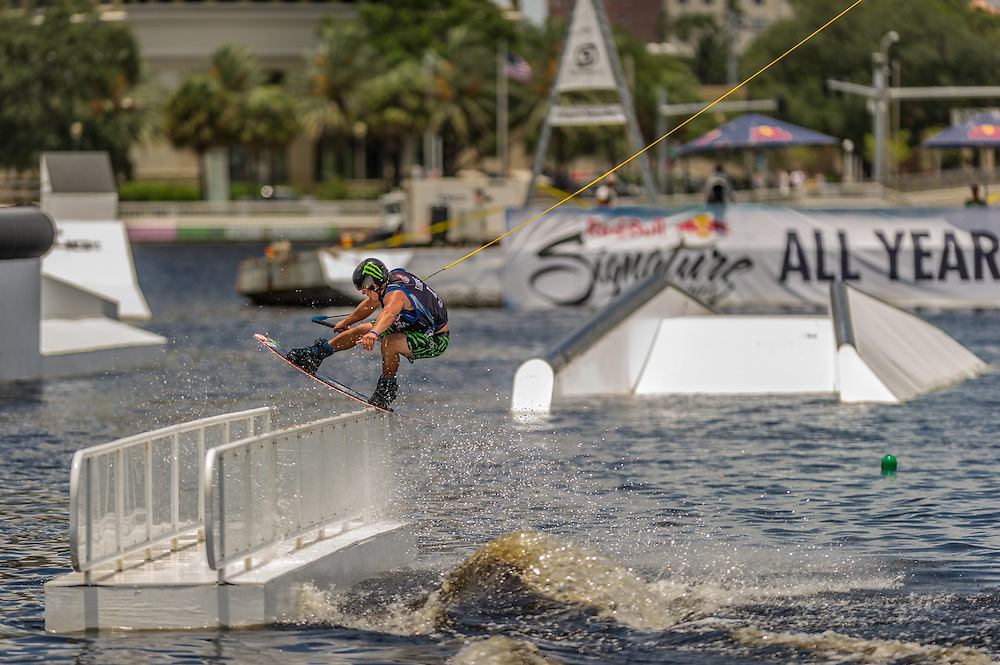 Tom Fooshe competes in the park competition during the Red Bull Wake Open in Tampa, Florida, USA on 6 July 2013.