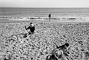 Members of an Amputee Football Team, practice on Lumley Beach, Freetown,  Sierra Leone 2004<br /> Rebel forces, the Revolutionary United Front in Sierra Leone, systematically murdered, mutilated, and raped civilians during the country's civil war as a policy of terror