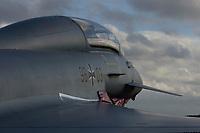"""03 NOV 2003, LAAGE/GERMANY:<br /> Eurofighter EF 2000 """"Typhoon"""" hier in der zweisitzigen Ausbildungsversion, neues Jagdflugzeug der Bundesluftwaffe, Jagdgeschwader 73 """"Steinhoff"""", Fliegerhorst Laage<br /> IMAGE: 20031103-01-014<br /> KEYWORDS: Bundeswehr, Bundesluftwaffe, Jet, Kampfflugzueg, am Boden"""