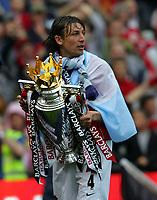 Gabriel Heinze Celebrates with the Premier League Trophy<br />Manchester United 2006/07<br />Manchester United Premier League Champions 2007<br />Manchester United V West Ham United (0-1) 13/05/07 <br />Old Trafford<br /> Photo Robin Parker Fotosports International