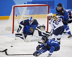 February 11, 2018 - Pyeongchang, KOREA - Finland goaltender Noora Raty (41) blocks the puck as United States forward Danielle Cameranesi (24) and Finland defenseman Rosa Lindstedt (4) look on during the women's hockey group A play during the Pyeongchang 2018 Olympic Winter Games at Kwandong Hockey Centre. The USA beat Finland 3-1. (Credit Image: © David McIntyre via ZUMA Wire)