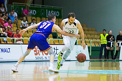 Djordje Lelic of KK Helios Suns and Daniel Vujasinovic of KK Zlatorog during basketball match between KK Zlatorog and KK Helios Suns in 1st match of Nova KBM Slovenian Champions League Final 2015/16 on May 29, 2016  in Dvorana Zlatorog, Lasko, Slovenia.  Photo by Ziga Zupan / Sportida
