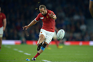 Frederic Michalak of Franch takes the penalty kick .Rugby World Cup 2015 pool D match, France v Italy at Twickenham Stadium in London on Saturday 19th September 2015.<br /> pic by John Patrick Fletcher, Andrew Orchard sports photography.