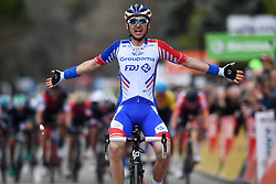 March 9, 2018 - Sisteron, FRANCE - French RUDY MOLARD of FDJ celebrates as he crosses the finish line to win the sixth stage of the 76th edition of Paris-Nice cycling race, 188km from Sisteron to Vence, France. The race starts on the 4th and ends on the 11th of March. (Credit Image: © David Stockman/Belga via ZUMA Press)