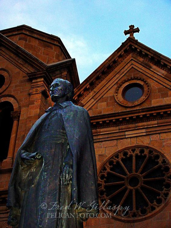 Statue of Archbishop John Baptist Lamy at The Cathedral Basilica of St. Francis of Assisi, Santa Fe, New Mexico