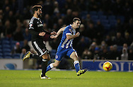 Brighton winger, Jamie Murphy (15) scores to make it 3-0 to Brighton during the Sky Bet Championship match between Brighton and Hove Albion and Brentford at the American Express Community Stadium, Brighton and Hove, England on 5 February 2016.