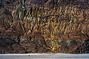 An army truck is dwarfed by cliffs over the sandy Nubra Valley.