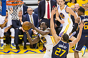 Golden State Warriors forward Draymond Green (23) takes the ball to the basket against Utah Jazz center Rudy Gobert (27) during Game 2 of the Western Conference Semifinals at Oracle Arena in Oakland, Calif., on May 4, 2017. (Stan Olszewski/Special to S.F. Examiner)