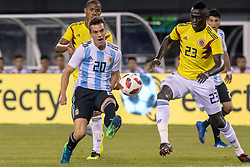 September 11, 2018 - East Rutherford, NJ, U.S. - EAST RUTHERFORD, NJ - SEPTEMBER 11: Argentina midfielder Giovani Lo Celso (20) passes the ball during the first half of the International Friendly Soccer match between Argentina and Colombia on September 11, 2018 at MetLife Stadium in East Rutherford, NJ. (Photo by John Jones/Icon Sportswire) (Credit Image: © John Jones/Icon SMI via ZUMA Press)