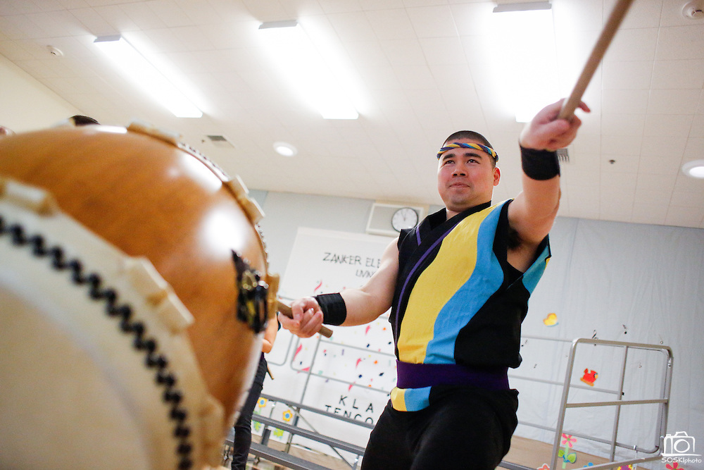 Geoff Noone of the San Jose Taiko performs during the KLA-Tencor Computer Lab opening ceremony at Zanker Elementary School in Milpitas, California, on February 27, 2013. (Stan Olszewski/SOSKIphoto)