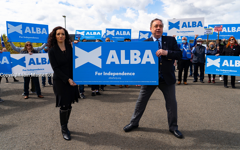 Falkirk, Scotland, UK. 30 April 2021. Leader of the pro Scottish nationalist Alba Party , Alex Salmond, campaigns with party supporters at the Falkirk Wheel ahead of Scottish elections on May 6th. Pic Tasmina Ahmed-Sheikh and Alex Salmond. Iain Masterton/Alamy Live News