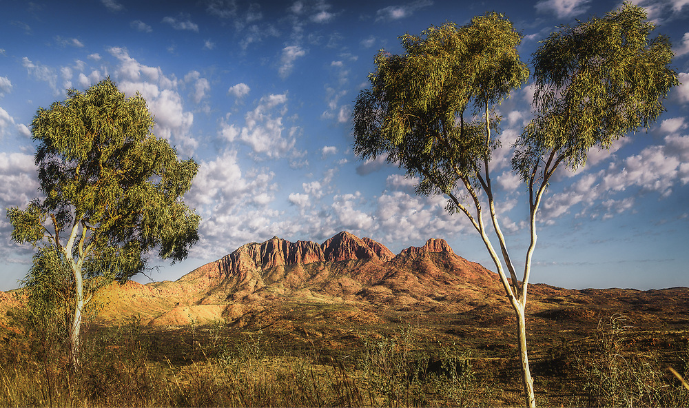 Mt. Sonder from Hilltop Lookout at Sunrise. West Macdonnell Ranges, Northern Territory