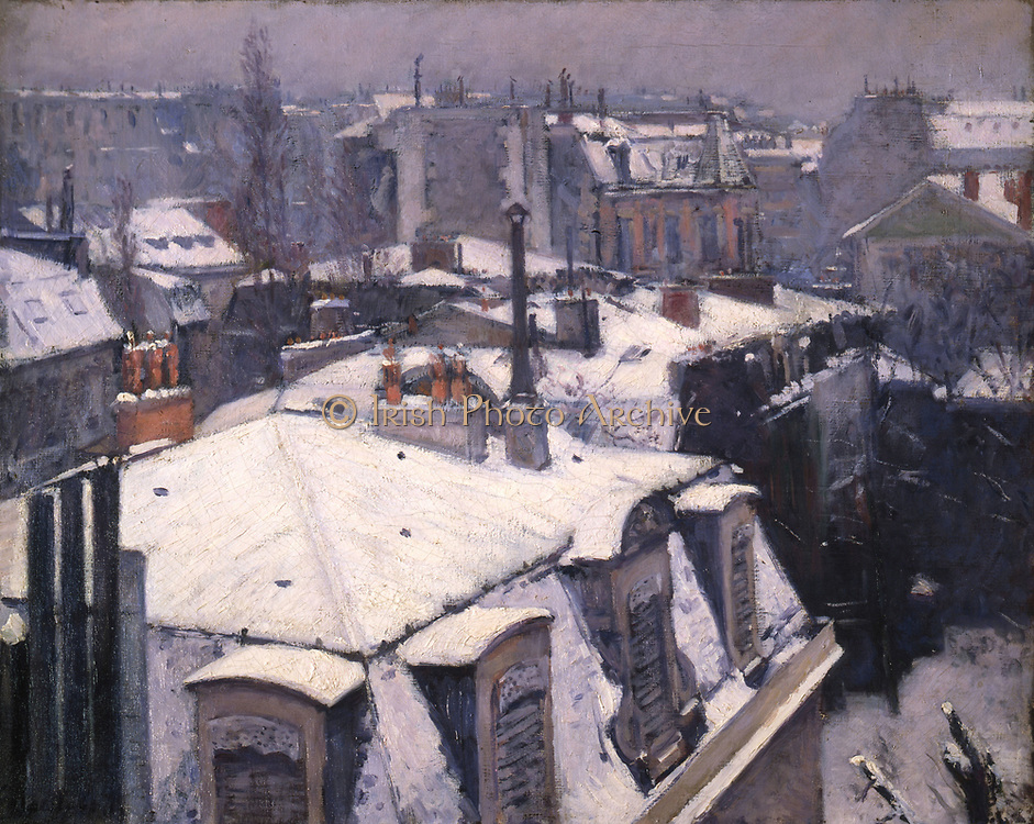Rooftops in the Snow' 1878. Gustave Caillebotte (1848-1894) French Impressionist painter.