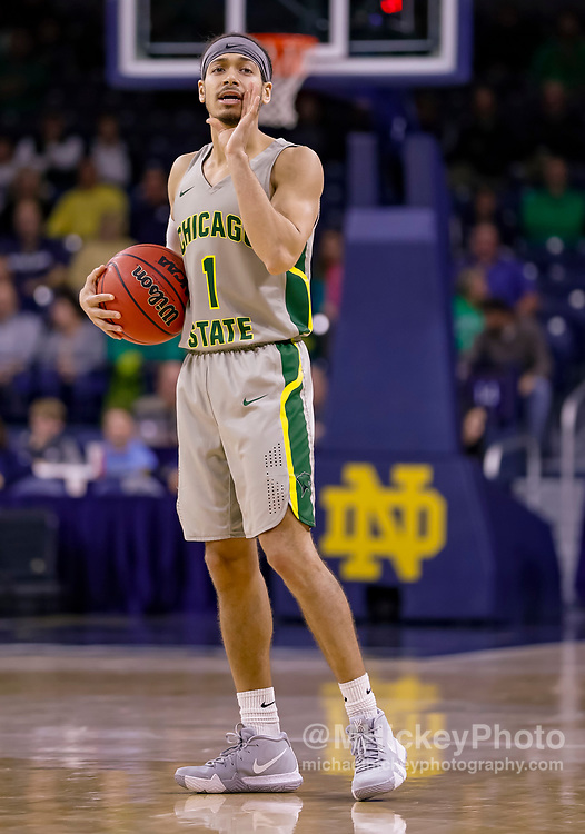 SOUTH BEND, IN - NOVEMBER 08: Rob Shaw #1 of the Chicago State Cougars is seen during the game against the Notre Dame Fighting Irish at Purcell Pavilion on November 8, 2018 in South Bend, Indiana. (Photo by Michael Hickey/Getty Images) *** Local Caption *** Rob Shaw