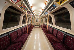 Glasgow, Scotland, UK. 1 April, 2020. Effects of Coronavirus lockdown on streets of Glasgow, Scotland. Interior of empty carriage on the Glasgow Subway. Iain Masterton/Alamy Live News